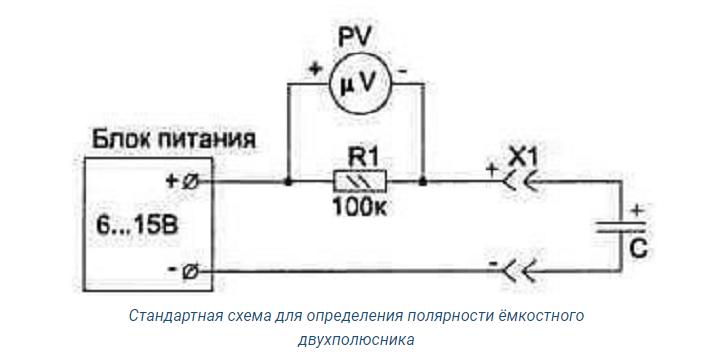 Как определить полярность конденсатора?