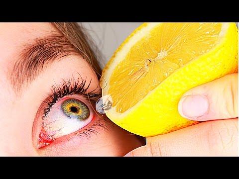 Попал лимонный сок в глаз что делать.